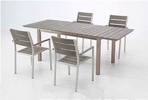 VDC Mesa Aluminio POLYWOOD Extensible Siena 160-220X90 CM + 4 SILLAS Siena: Amazon.es: Jardín