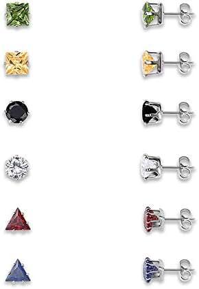 Teniu Six-Color Crystal Earrings Set Women Girls Stud Earrings Nail Earrings Set 6 Pairs