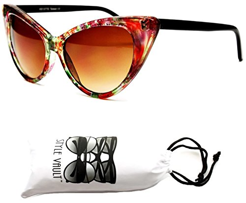 E19-vp Style Vault Cateye Classic Sunglasses (Flower #1 Orange/green, - In 1 Sunglasses 2