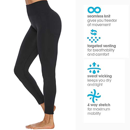 Manufacture Women's High Waist Yoga Pants Workout Tummy Control Gym Yoga Seamless Leggings Black