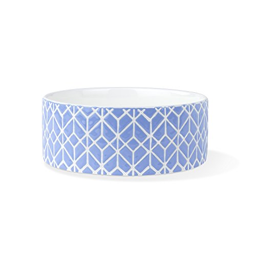 FRINGE STUDIO Graphic Deco Blue Medium Straight Bowl - Studio Ceramic Pet Bowl