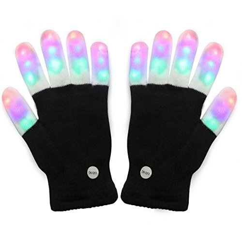 Light Up Gloves: LED with flashy colorful lights – Great Christmas Halloween Birthday Gift Idea for kids, boys and girls. Cool light show looks amazing and fun in the dark! (Gift Girls Christmas Ideas)