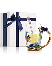 Decdeal Flower Glass Mug Enamel 350ml Teacups Beauty Handmade Handle Design Luxury Tea Cups with 1 Spoon and Cleaning Cloth Valentine's Day Gift(Blue)