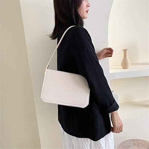 合併症のない小さなスクエアバッグファッション大容量レトロショルダーバッグパーソナリティ楽ショルダーバッグ 実用的 (色 : White)