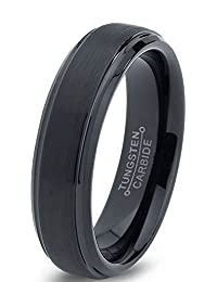 Tungsten Wedding Band Ring 6mm for Men Women Comfort Fit Black Enamel Beveled Edge Brushed