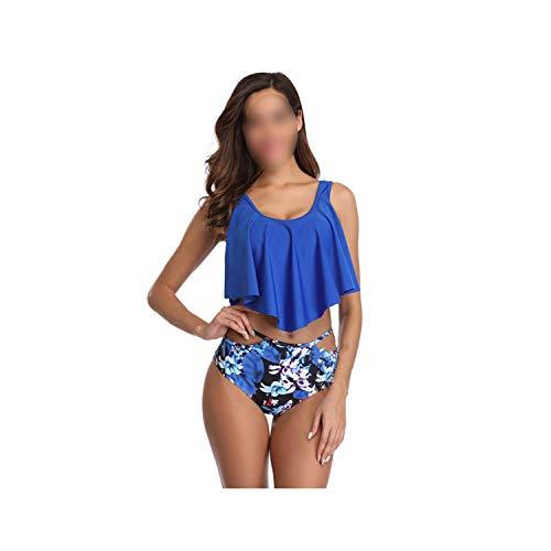 Cross-Border 2019 New Printed Ruffled High Waist Bikini European and American Style Swimsuit Female Bikini,Blue,2XL