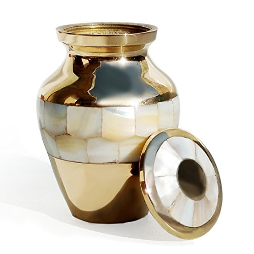 Cremation Urns Mini Pearl Keepsake Memorial Urn for Ashes – Mother of Pearl Keepsake with Velvet Box