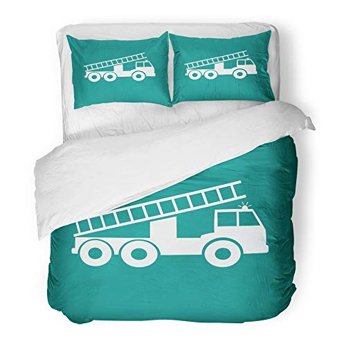 Cover Set Twin Size Red Black Fire Truck White Alarm Blaze Car Firefighter Fireman Front 3 Piece Brushed Microfiber Fabric Print Bedding Set Cover ()