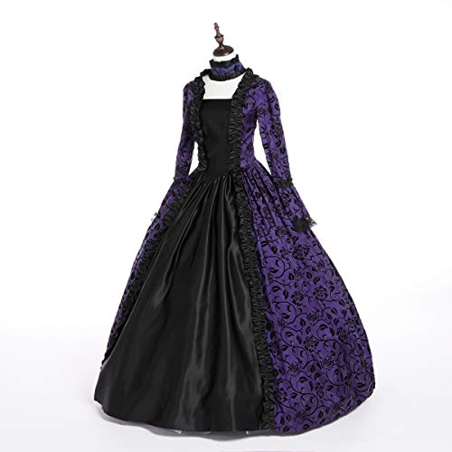 CountryWomen Renaissance Gothic Dark Queen Dress Ball Gown Steampunk Vampire Halloween Costume (M, Purple & Black)