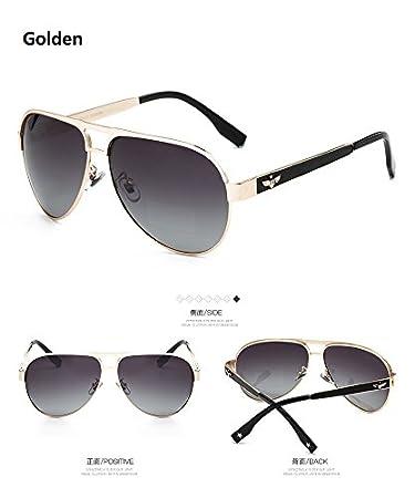 Yao Herren Klassische Flying Polarisierte Sonnenbrille UV400 Schutz Metall Material Aviator Vintage für Fahren Angeln Radfahren ( Farbe : Gold ) V2RyzZj13