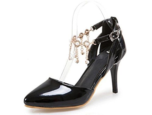 Colores Cómodo Cm De 8 Verano Nvlxie Señora Cadena Cinco Black Zapatos Cinturón Hebilla Perlas Fino Apuntado Diarias Pu Rw6qza4qW