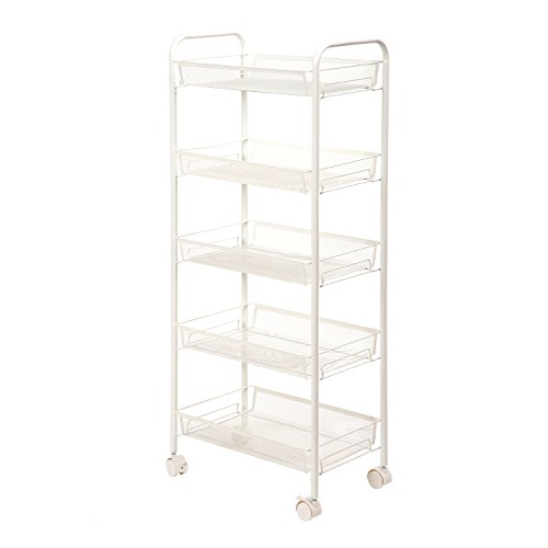 SINGAYE Mesh Wire Rolling Cart 5-Tier Utility Cart Multifunction Kitchen Storage Storage Cart on Wheels, Steel Wire Basket Shelving Trolley,Easy Moving,White