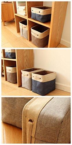 Foldable Home Shelf Baskets Cloth Organizer Cube Bins with Handle, Cube Cloth Storage (Blue)