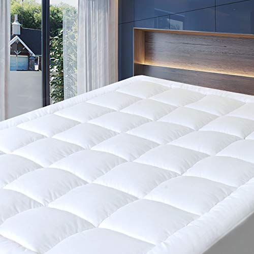 (Cosylifee Queen Mattress Pad Cover Thick Quilted Mattress Topper Cooling Mattress Protector Overfilled Cotton Top Pillow Top with Snow Down Alternative Fill (8-21