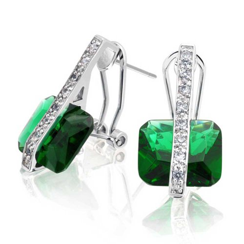 Deco Style Square Rectangle Green Simulated Emerald Cut Cubic Zirconia CZ Drop Earrings For Women Silver Plate Brass