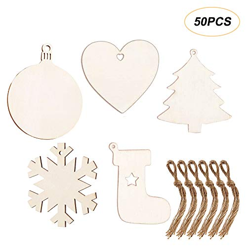 Amajoy 50pcs Unfinished Wood Pieces Wooden Ornaments Christmas Crafts Supplies for Kids Predrilled Blank Hearts Tree Round Snowflake Stockings Wood Slices to Paint DIY Christmas Hanging Decoration