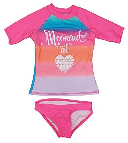 Girls Mermaid at Heart Pink Sizzle Rash Guard & Bikini Bottom 2-Piece Swim Set - X-Large