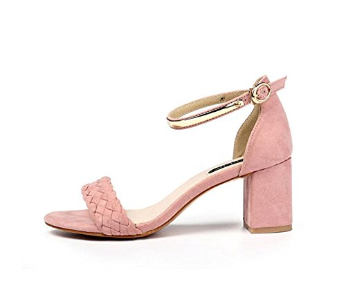 Fashion amp; pour Heel Chunky Dress pink Party Sandales Scrub LvYuan femmes d'été Shoes Evening Buckle Roman qvInEY