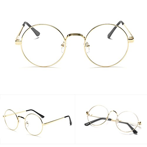 Itemap Chic Eyeglasses Retro Big Round Metal Frame Clear Lens Glasses Nerd Spectacles - Burberry Ray Bans