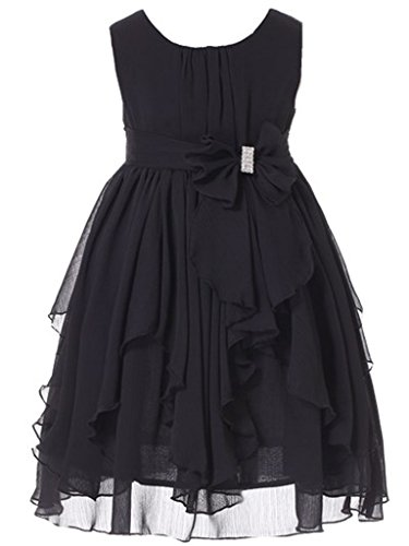 Bow Dream Flower Girl Dress Bridesmaid Ruffled Chiffon Black 6