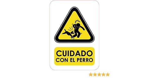 Oedim Señaletica Para Exteriores Cuidado con el perro Tamaño A5 (21x14,8cm) | Señaletica en material aluminio 3 mm resistente