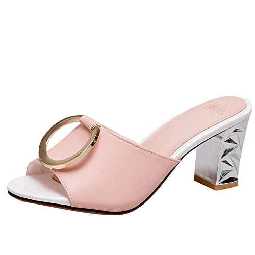 Vitalo Women's Mid Block Heel Mules Sandals Ladies Slip On Summer Sandals Shoes Pink KzOhU9TF