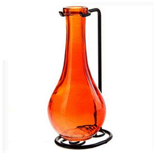 es, Floral Bottle Vase, Bud Holder G184F Orange Colored Bottles (Colored Bud Vases)
