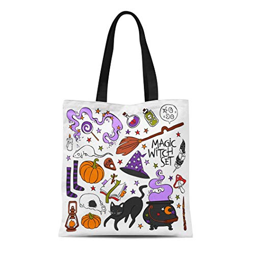 Semtomn Canvas Tote Bag Shoulder Bags Candle Magic Witch Black Cat Hat Halloween Pumpkin Potion Women's Handle Shoulder Tote Shopper Handbag]()
