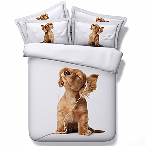 Lovely Puppy Listening to Music White 3D Bedding Sets Digital Reactive Printing 400-Thread-Count Modal Bedding 4-Piece Bed in a Bag Duvet Cover Sets with 2 Pillowcase 1 Duvet Cover 1 Flat Sheet(Full)
