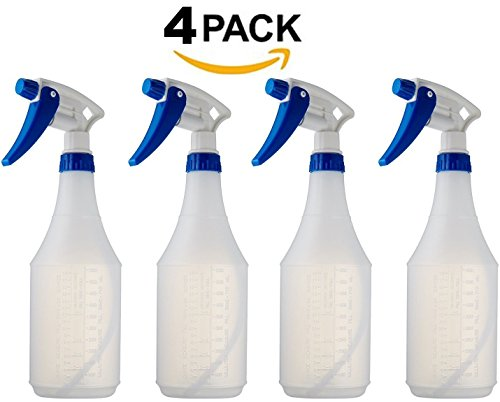 - Empty Durable Round Spray Bottles - 4 Pack 24 Oz Refillable Sprayer for Essential Oil, Water, Kitchen, Bath, Beauty, Hair, and Cleaning - Durable Trigger Sprayer with Mist & Stream Modes