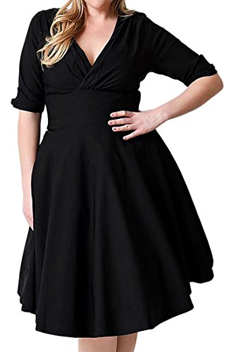 V Black Midi Pleated Ruched Short Women's Sleeve Neck Dress Cruiize Casual 57xn6pBZwq