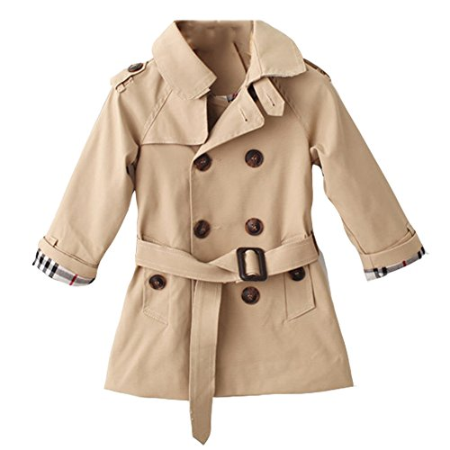 LSERVER Kids Boys Trench Coat Toddler Girls Windbreaker Autumn Spring Jacket Children Outwear British Coats Camel 2-6T ()