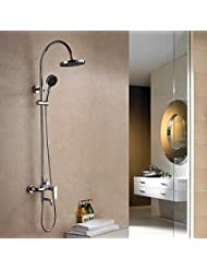 BL Modern Retro Shower Faucet Contemporary Rain Shower Brass Chrome Shower Faucet Chrome Plated Solid Brass