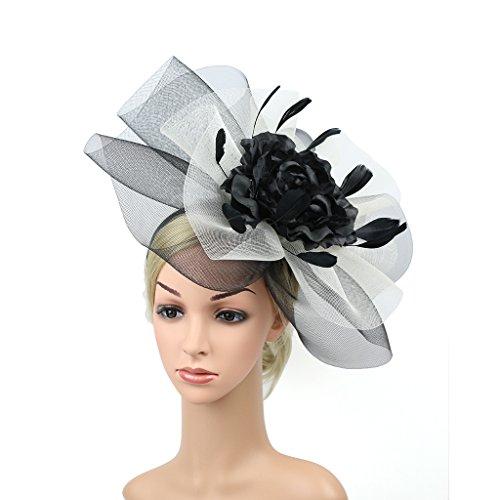 YSJOY Elegant Veil Mesh Feather Fascinator Hat Flower Wedding Party Hat (Black White)