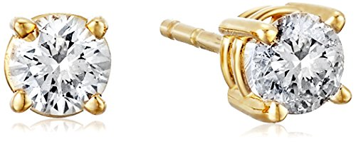 Certified Brilliant-Cut Diamond Classic 4-Prong Screw Back Stud Earrings in 14K White or Yellow Gold (K-L Color, I2 Clarity) - Choice of Carat Weights (yellow-gold, 0.33)