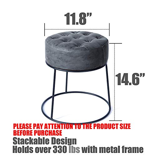 Art Leon Small Round Ottoman Stackable Footstool Leather Pouf Ottoman Foot Rest for Living Room,Vanity,Dorm,Apartment,Gray