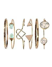 Beauty7 Ethnic Boho Love Freedom Power Turquoise Triangle Knot Stackable Open Cuff Bracelet Set Heart Shape Bangle Gold Women