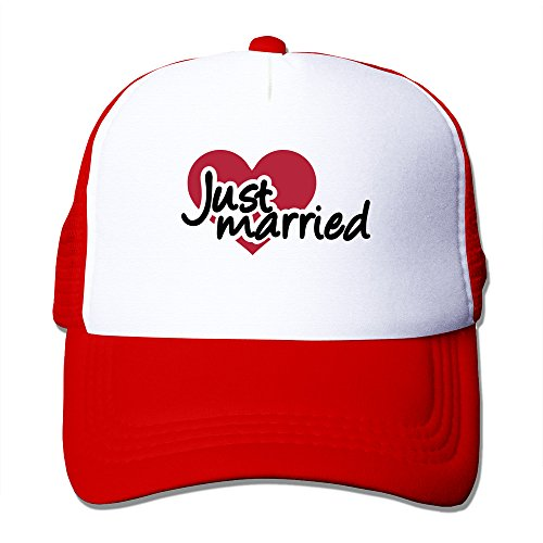 Just Married Adult Baseball Mesh Caps Hat Adjustable 100% Nylon Red By JE9WZ