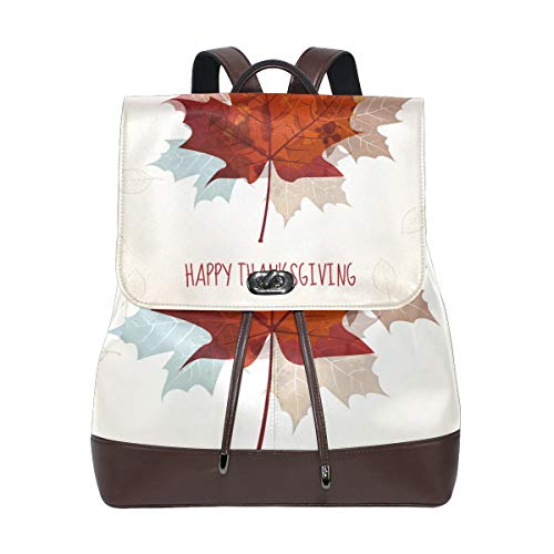 Essential Elements 2010 For Strings - PU Leather Backpack Thanksgiving Maple Leaf drawstring for Travel Rucksack Daypack Casual Duffel Shoulder Bag