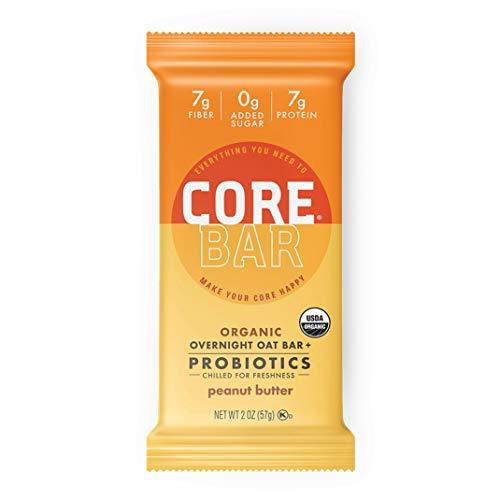 CORE Foods Organic Overnight Oat Bar + Probiotics, Gluten Free, non-GMO, Vegan, Kosher, Prebiotics, Peanut Butter, 2 oz, 16 Bars