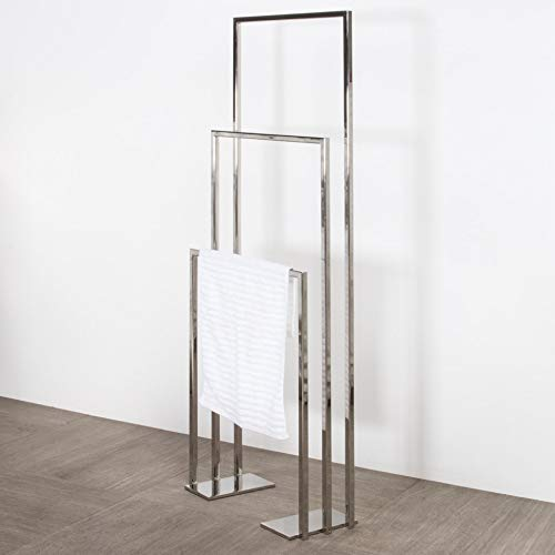 Floor-mount triple towel stand made of stainless steel, fixing floor kit included. W: 19 3/4