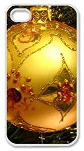 Iphone 4 4s PC Hard Shell Case Christmas Ball Ornament 2 White Skin by Sallylotus