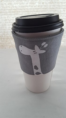 Reusable Coffee Tea Cozie Sleeve Gray with White Giraffes (Java Giraffe)