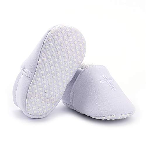 Battesimo Neonato Ballerine Scarpe Antiscivolo Per Bambina Primi Bianche 12  Suola Da Ricamato scarpe Bianco Lacofia Morbida Con Mesi Passi ... 7462e065468