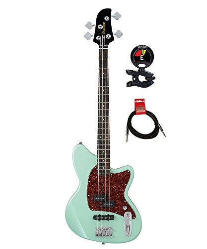 Ibanez TMB100 Talman 4 String Electric Bass Guitar with Mahogany Body and 2 Single-coil Pickups Bundle with Clip on Guitar Tuner and Instrument Cable (Mint Green)