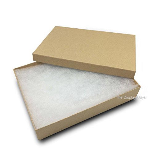 Showcase Display Gift Box - The Display Guys, Pack of 25 Kraft 5 3/8x3 7/8x1inches Cotton Filled Paper Jewelry Box Gift Display Case(#53)