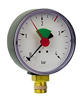 Anschluss von unten-3//8 Zoll Sanitop-Wingenroth 27170 7 Rohrfeder-Manometer