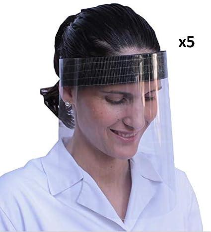 KMINA - Pantalla Protección Facial Transparente (Pack x5 uds), Pantalla Protectora Cara, Protector Facial, Visera Protectora con Agarre de Velcro Trasero, Fabricado en España
