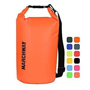 MARCHWAY Floating Waterproof Dry Bag Backpack 5L/10L/20L/30L/40L, Roll Top Dry Sack Pack for Marine Kayaking Rafting Boating Swimming Camping Hiking Beach Fishing Skiing Snowboarding (Orange, 20L)