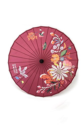 Bamboo Vintage Umbrella (Vintage Pinup Style Parasol Plum First Frost Print)